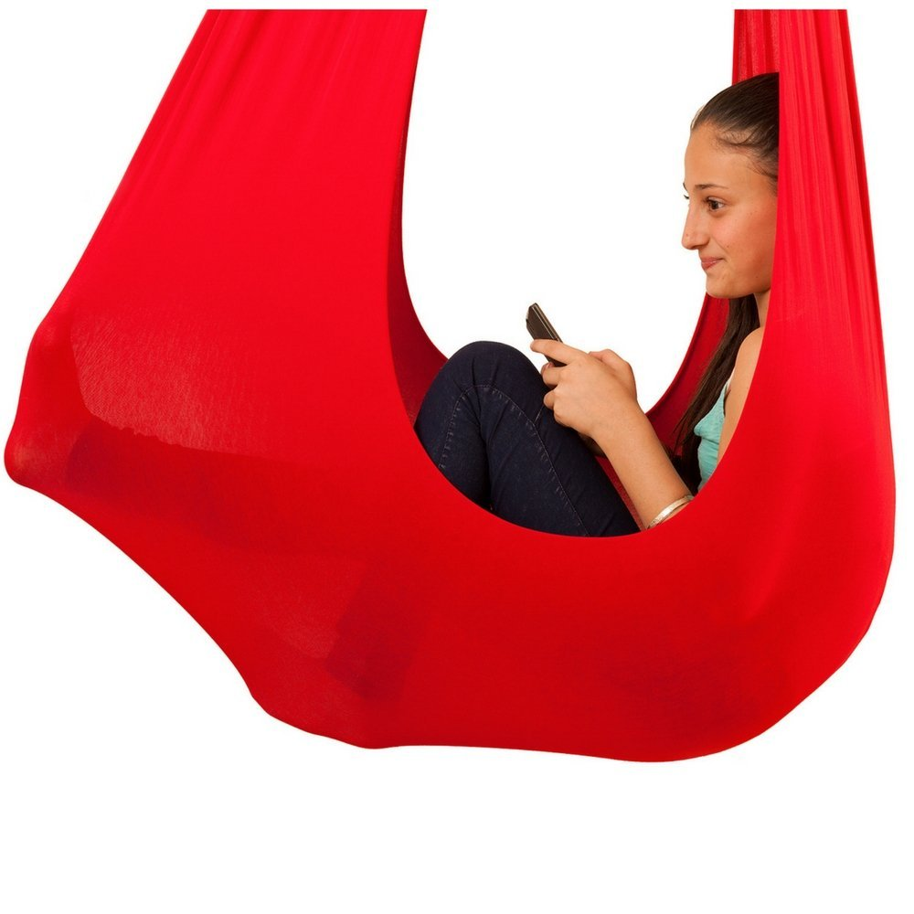 Indoor Swing for Kids by InYard Great for Sensory Integration (Up to 77lbs, Red)2