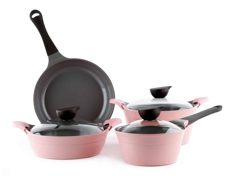 Jogo de Panela Neoflam Eela 4 peças Ceramic Nonstick Cookware Set in Pink