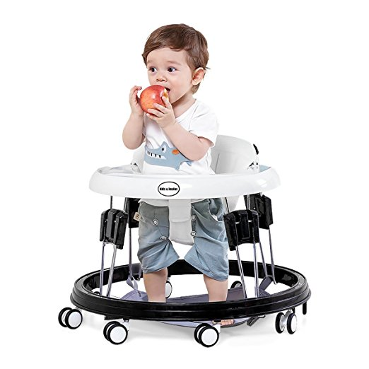 Kids&Koalas Foldable Baby Walker,Height Adjustable and Free Installation Learning Walker (Beige white)