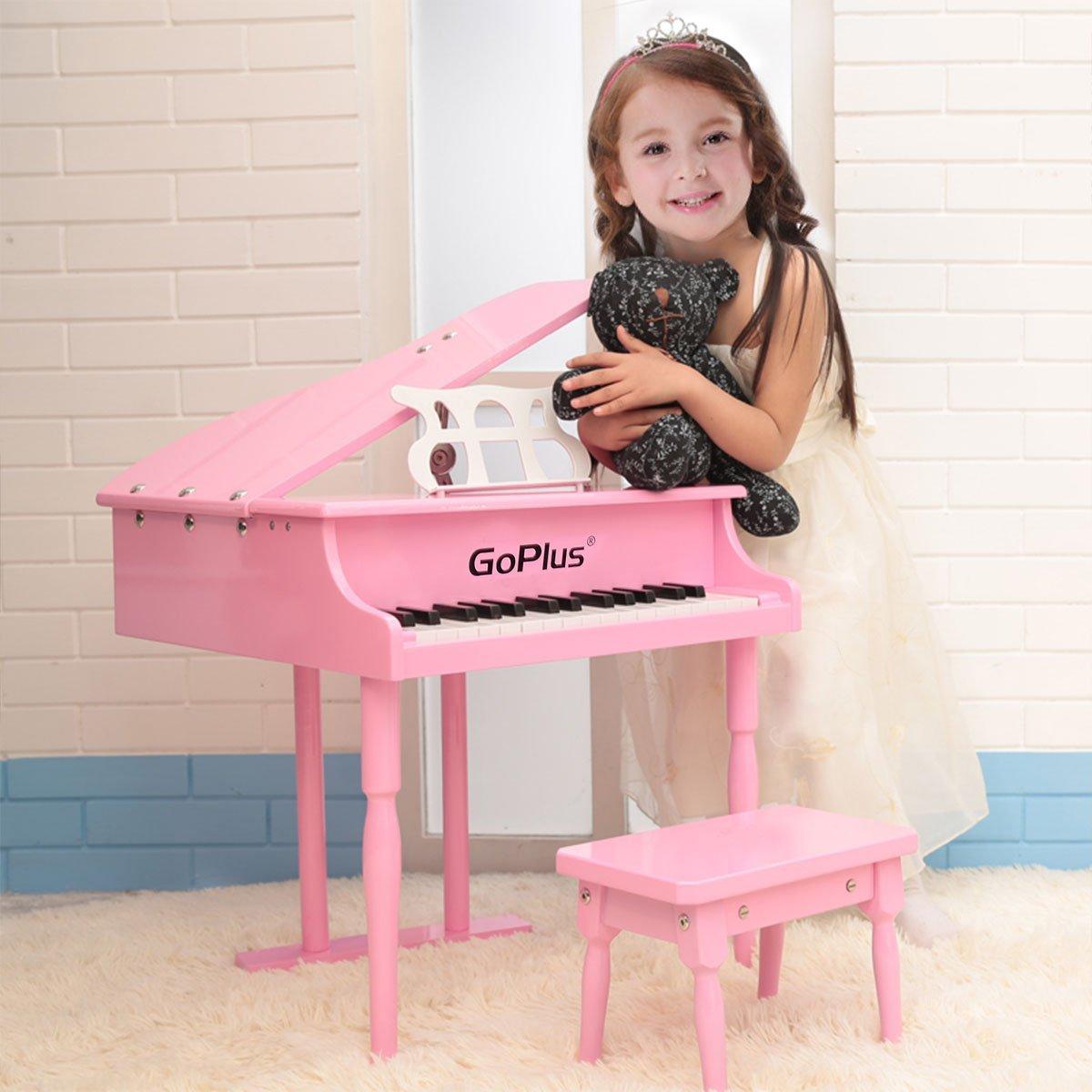 Piano para Meninas Rosa 30 keys com Banco de Madeira
