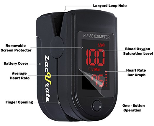 Pro Series 500DL Fingertip Pulse Oximeter Blood Oxygen Saturation Monitor with silicon cover, batteries and lanyard (Mystic Black) 2