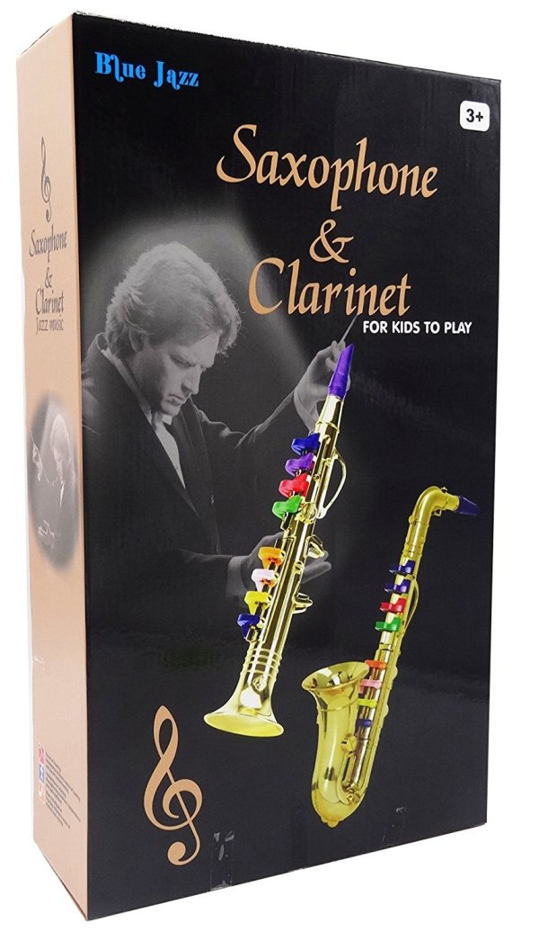 Set of 2 Music Instruments, Saxophone and Clarinet. Combo with over 10 Color Coded Teaching Songs included