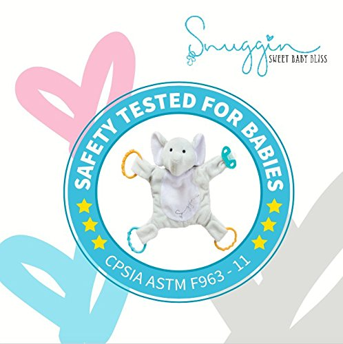 Snuggin – The Comforting Day and Night Lovey Miracle for Babies (Gray Elephant) – Plush Stuffed Animal Pacifier and Teether Holder 3