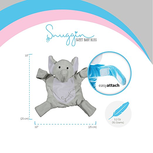 Snuggin – The Comforting Day and Night Lovey Miracle for Babies (Gray Elephant) – Plush Stuffed Animal Pacifier and Teether Holder 6