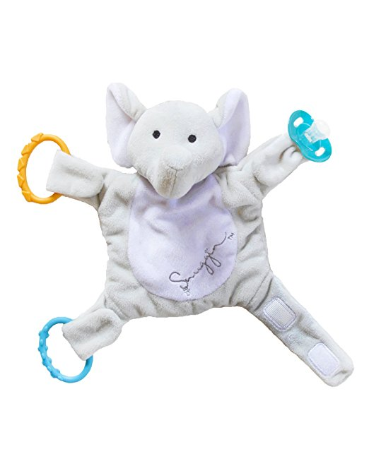 Snuggin – The Comforting Day and Night Lovey Miracle for Babies (Gray Elephant) – Plush Stuffed Animal Pacifier and Teether Holder