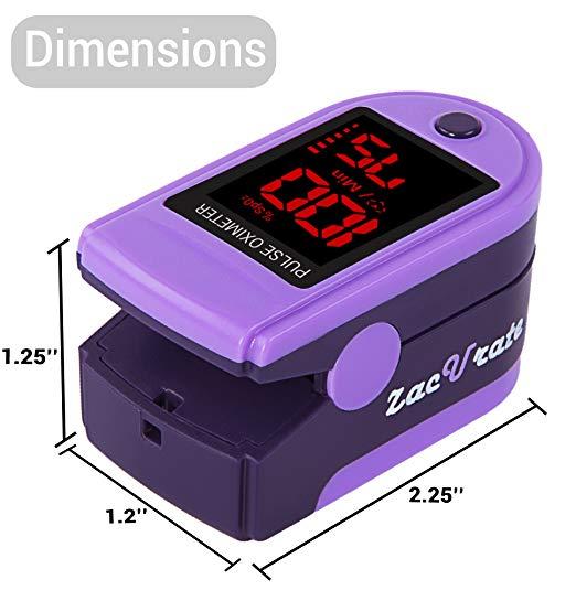 Zacurate Pro Series 500DL Dedo Oxímetro de pulso Monitor de Saturação de Oxigênio No Sangue com tampa de silicone, baterias e cordão (Roxo Real) 4