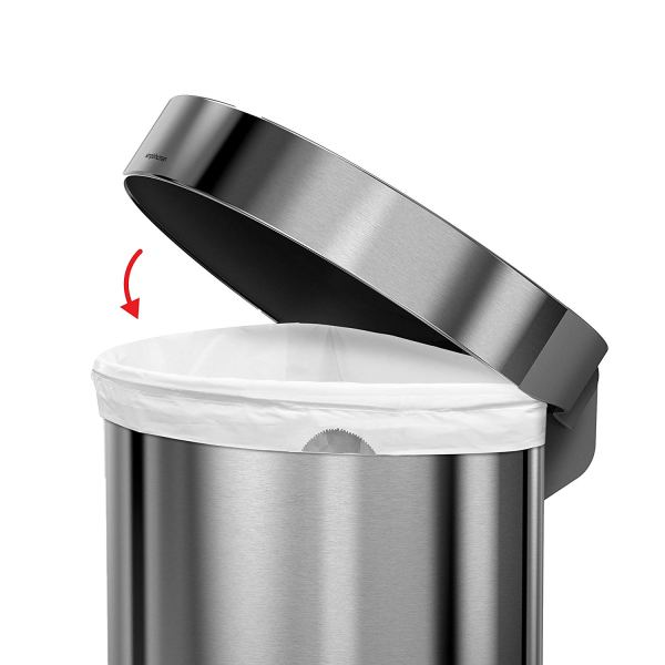 12 Gallon Stainless Steel Semi-Round Kitchen Step Trash Can with Liner Rim, Brushed Stainless Steel4