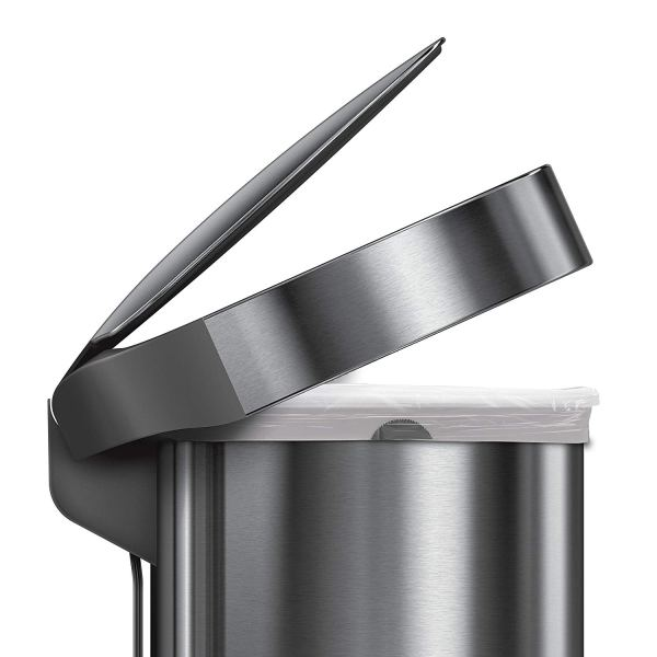 12 Gallon Stainless Steel Semi-Round Kitchen Step Trash Can with Liner Rim, Brushed Stainless Steel5