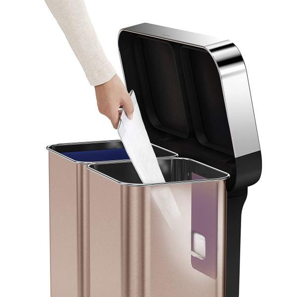 15,3 Galão De Aço Inoxidável Dupla Compartimento Retangular Cozinha Passo Lata de Lixo Reciclador com Forro de Bolso, Rose Gold4