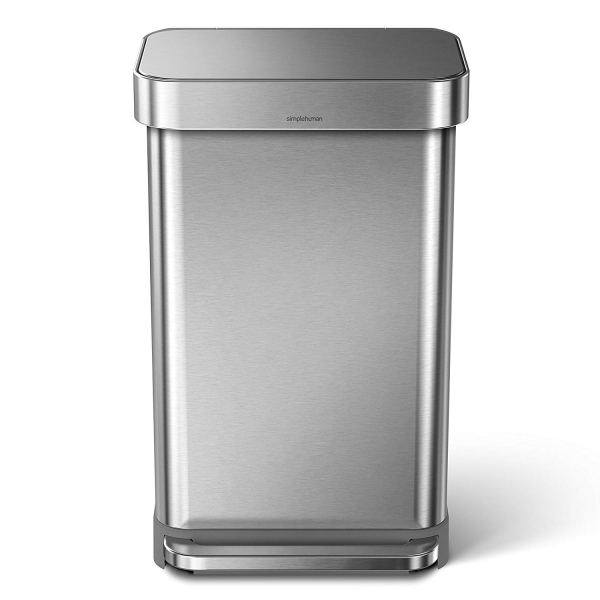 2 Gallon Stainless Steel Rectangular Kitchen Step Trash Can with Liner Pocket, Brushed Stainless Steel
