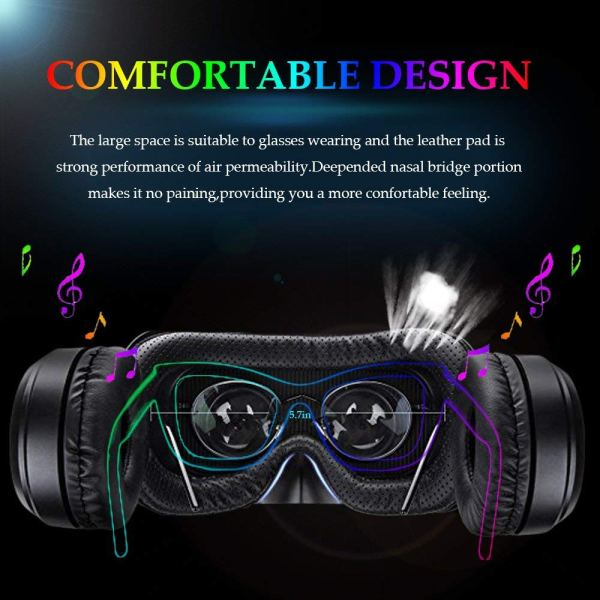 3D VR Glasses VR Virtual Reality for 3D Games Movies& Lightweight with &Adjustable Pupil and Object Distance for Apple iPhone More Smartphones4