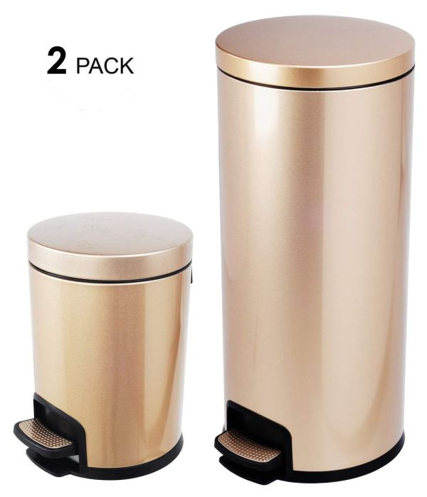 AMENITIES DEPOT Luxurious Stainless Steel Trash Can Garbage Bin Waste Receptacle (5L+30L)
