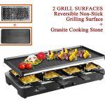 Artestia Raclette Grill elétrico com duas placas de topo de tamanho completo