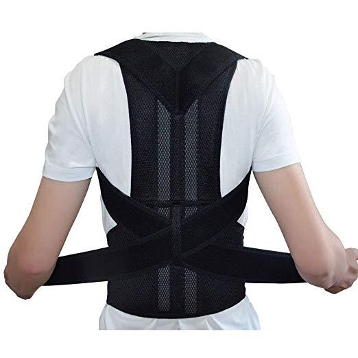 Back support Back Brace Support for Back Neck Shoulder Upper Back Pain Relief Perfect Posture Corrector Strap for Cervical Spine (L)