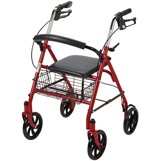 Drive Medical Four Wheel Rollator with Fold Up Removable Back Support, Red 2