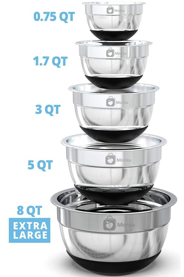 Premium Stainless Steel Mixing Bowls With Non Slip Bottom (Set of 5). 2