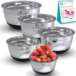 Premium Stainless Steel Mixing Bowls With Non Slip Bottom (Set of 5). 7