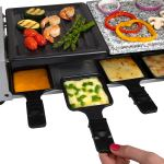 Dual Cheese Raclette Table Grill w Non-stick Grilling Plate and Cooking Stone- Deluxe 8 Person Electric Tabletop Cooker- Melt Cheese and Grill Meat and Vegetables at Once2