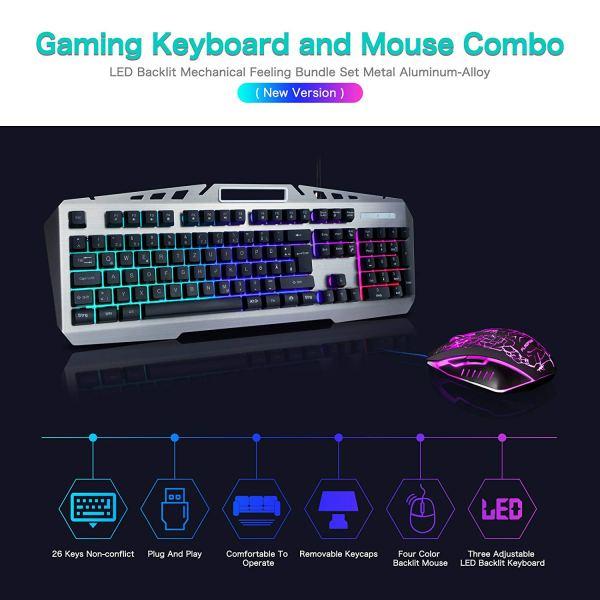 FLAGPOWER Gaming Keyboard Mouse Combo LED Backlit Mechanical Feeling Bundle Set Metal Aluminum-Alloy Phone Holder Computer PC Games Office(New Version)2