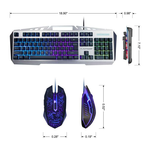 FLAGPOWER Gaming Keyboard Mouse Combo LED Backlit Mechanical Feeling Bundle Set Metal Aluminum-Alloy Phone Holder Computer PC Games Office(New Version)3