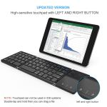 Foldable Bluetooth Keyboard, Vive Comb Dual Mode Bluetooth & USB Wired Rechargable Portable Mini BT Wireless Keyboard with Touchpad Mouse for Android, Windows, PC, Tablet-Black3