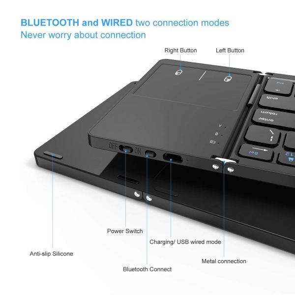Foldable Bluetooth Keyboard, Vive Comb Dual Mode Bluetooth & USB Wired Rechargable Portable Mini BT Wireless Keyboard with Touchpad Mouse for Android, Windows, PC, Tablet-Black4