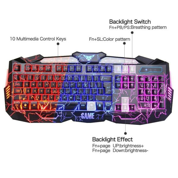Gaming Keyboard and Mouse Combo Bluefinger USB Wired Lighted Keyboard 3 Color 2