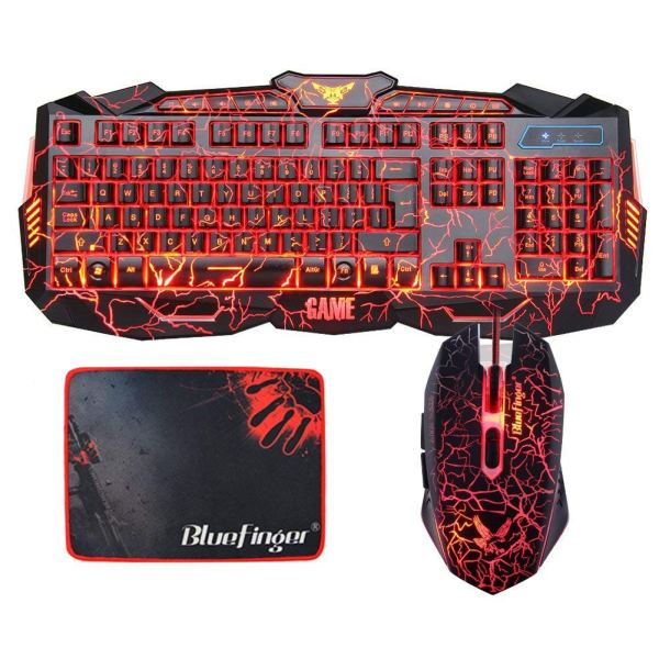 Gaming Keyboard and Mouse Combo Bluefinger USB Wired Lighted Keyboard 3 Color