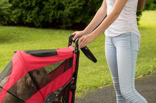 Pet Gear NO-Zip Stroller, Push Button Zipperless Dual Entry, for Single 6