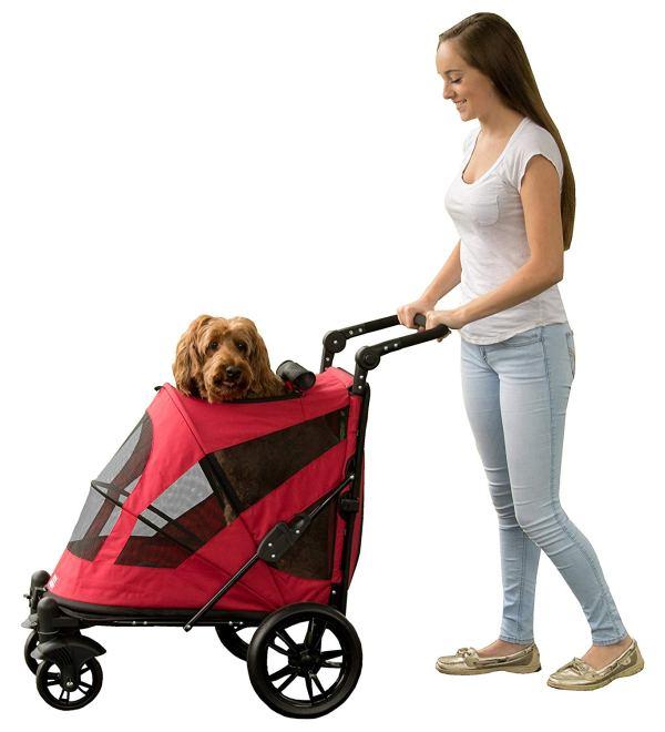 Pet Gear NO-Zip Stroller, Push Button Zipperless Dual Entry, for Single