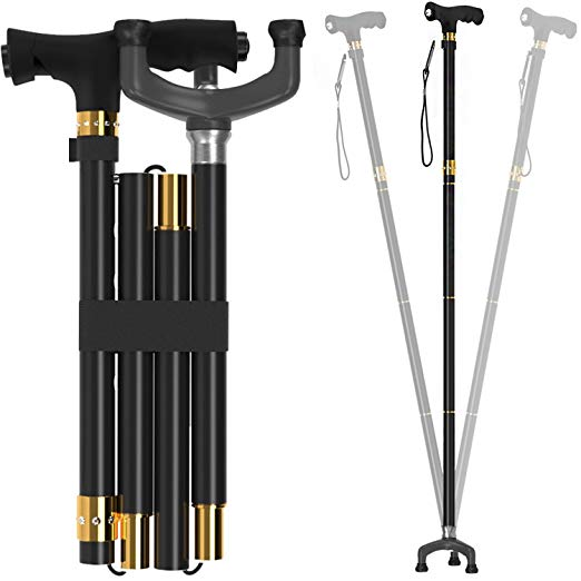Bago Folding Walking Cane with Led Light and Tripod Pivot Base for All Terrain Grip – Canes are Lightweight and Collapsible to Pack Small for Travel and Store 2