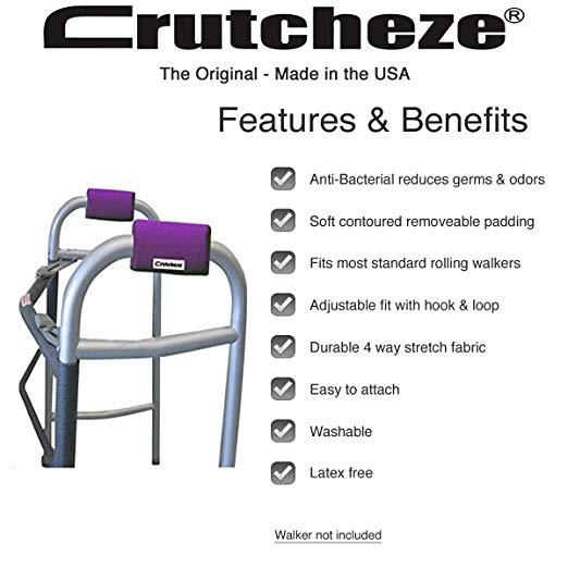 Crutcheze Deep Purple Walker Acolchoado Mão Grip Covers Made in EUA Umidade Wicking, Antibacteriano, Conforto, Moda, Lavável Acessórios Ortopédicos Produtos 2