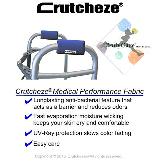 Crutcheze Royal Blue Walker Padded Hand Grip Covers Made in USA Moisture Wicking, Antibacterial, Comfort, Fashion, Washable Orthopedic Products Accessories 3