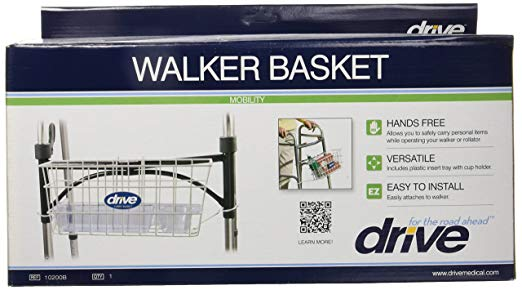 Drive Medical Walker Basket, White, with plastic cup holder 2