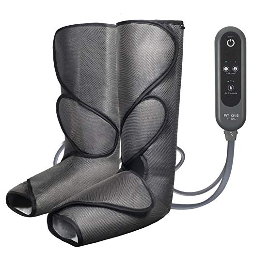 FIT KING Leg Air Massager for Foot and Calf Circulation Massage with Handheld Controller 3 Intensities 2 Modes(with 2 Extensions)