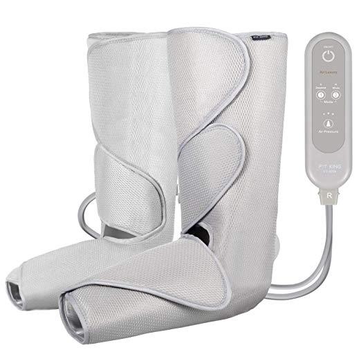 FIT KING Massageador Perna de Compressão de Ar para Circulação de Pés e Bezerras Massagem com Controlador de Mão 2 Modos 3 Intensidades (com 2 Extensões)