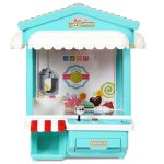 Mini Máquina de pegar brinquedos, bichinhos, doce com Exposição de luz multi-cor, música, moedas
