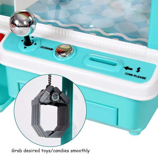 Mini Máquina de pegar brinquedos, bichinhos, doce com Exposição de luz multi-cor, música, moedas4