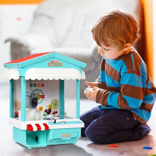 Mini Máquina de pegar brinquedos, bichinhos, doce com Exposição de luz multi-cor, música, moedas7