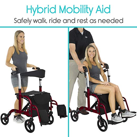 Vive Rollator Walker with Seat – Wheelchair Transport Chair2