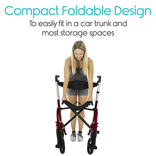Vive Rollator Walker with Seat – Wheelchair Transport Chair3