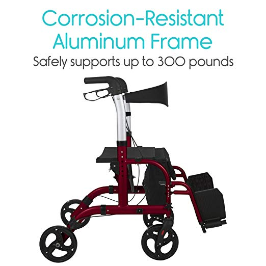 Vive Rollator Walker with Seat – Wheelchair Transport Chair6