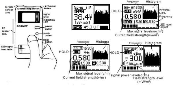 Dispositivo Tri-mode CORNET® ED-88T 100MHz-8GHz | RF LF ELF Meter67