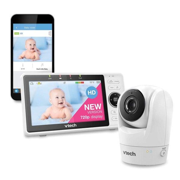 Monitor de bebê VTech VM901 WiFi atualizado, tela de 5 polegadas 720p, câmera 1080p,