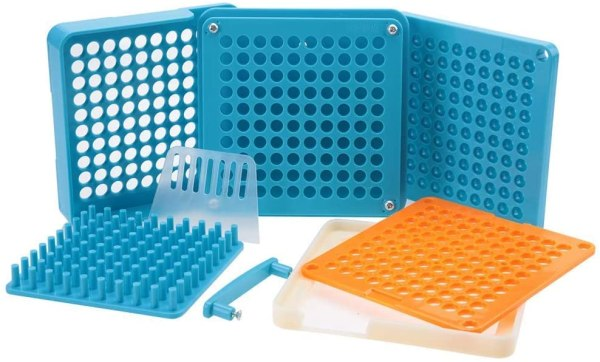 Suporte de cápsula de plástico tamanho 000 com 100 orifícios e 100 pinos (tamanho 000)