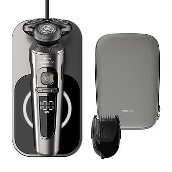 Barbeador elétrico para úmido e seco Philips Norelco com base de carregamento Qi