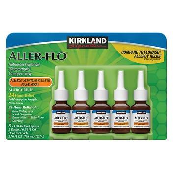 Kirkland Signature Aller-Flo 50mcg. Spray de alergia, 5 frascos