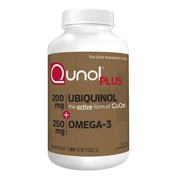 Qunol Plus CoQ10 Ubiquinol 200 mg. com Omega-3, 90 cápsulas de gel