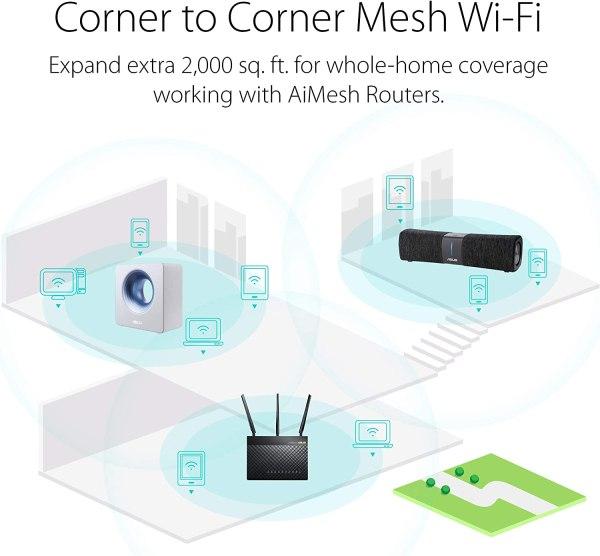 ASUS Lyra Voice Wireless AC2200 – Roteador Wi-Fi de malha tripla e alto-falante Bluetooth preto.