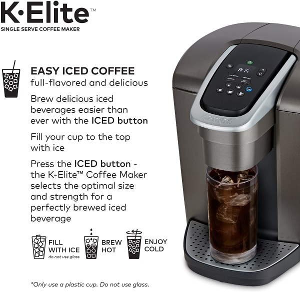 Máquina de café Keurig K-Elite cafeteira K-Cup de dose única com capacidade para café gelado.